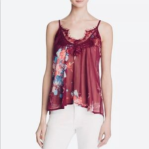 Band of Gypsies NWT Wine Sheer Tank Top XS Ret $52